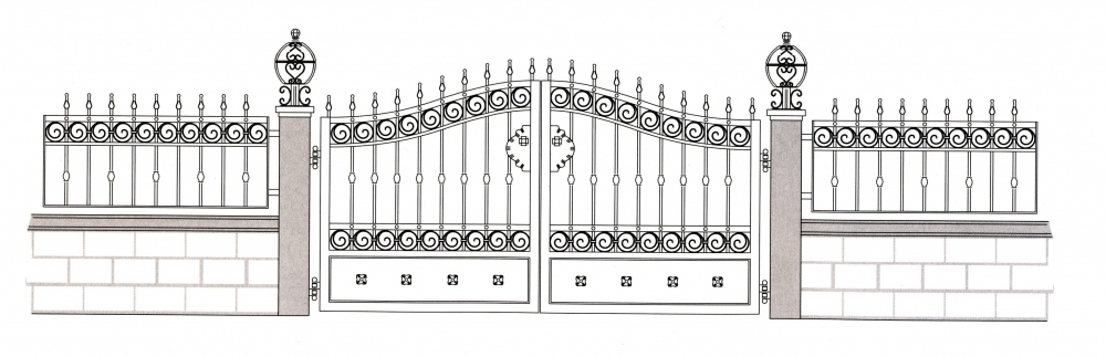 Garden gate b ziers wrought iron garden gate wrought for Dessin portail fer forge